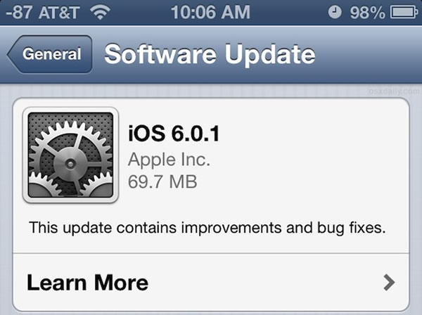 Apple lanza actualización para iPhone 5: iOS 6.0.1