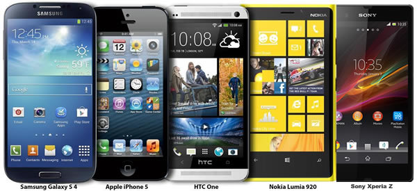 Galaxy S 4 vs iPhone 5, HTC One, Lumia 920 y Xperia  Z - El Enfrentamiento Final!