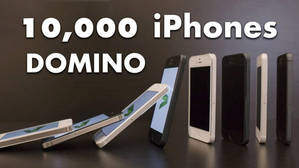Video: ¡10,000 iPhones cayendo como piezas de Dominó!