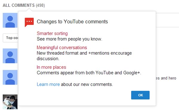 YouTube integra sus comentarios con Google+ (Vídeo)