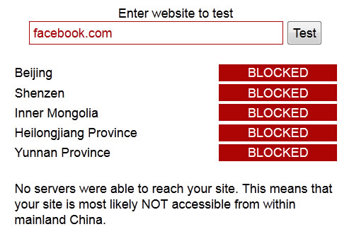 BlockedInChina Facebook bloqueado en China