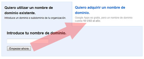 Google Apps para registrar dominios