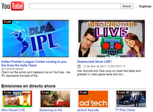 YouTube lanza canales de video en vivo