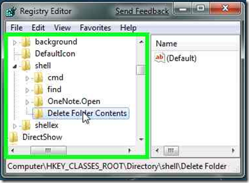 Shell Añadir Clave Delete folder contents