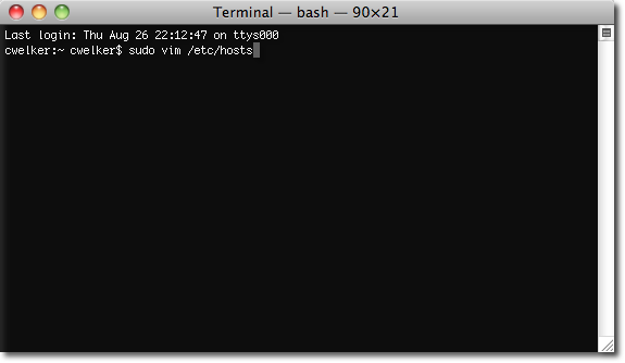 Hosts Terminal Mac OSX