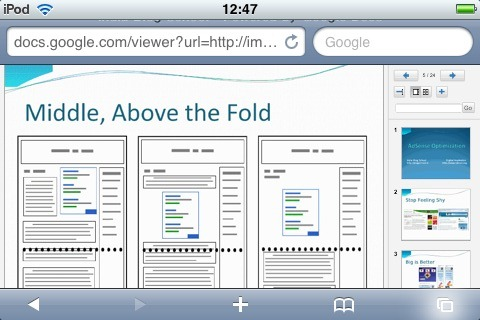 Google Docs Viewer en el iPod Touch