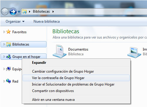 Ver Password Grupo Hogar Windows 7
