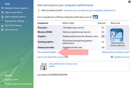 Windows Vista View detailed performance
