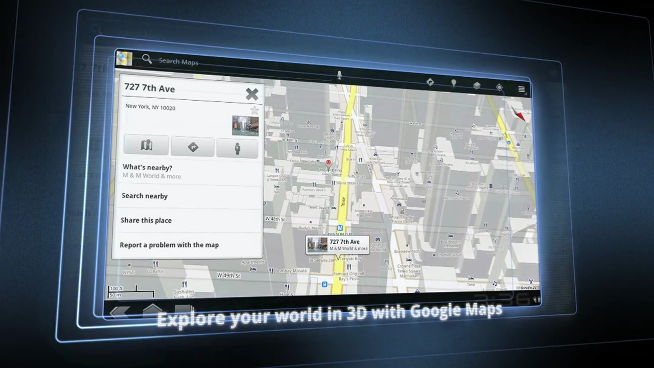 Google Maps Android 3.0, Honeycomb