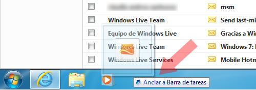 Hotmail Jumplist Taskbar