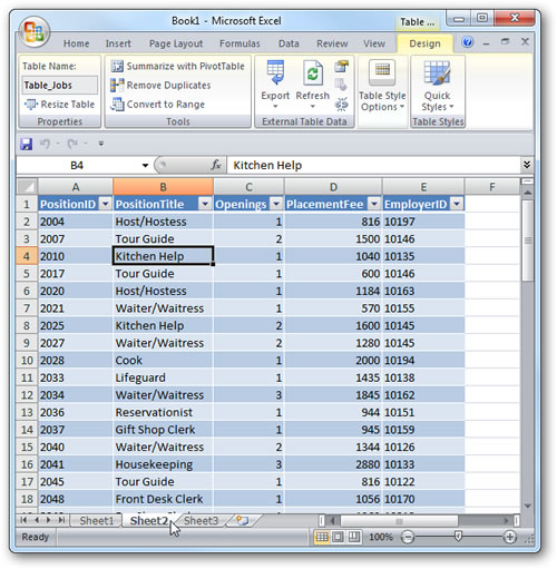 Tabla Importada de Access a Excel