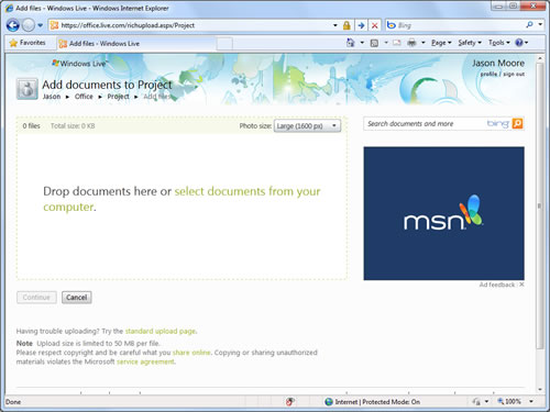 Office Web Apps: Subir documentos
