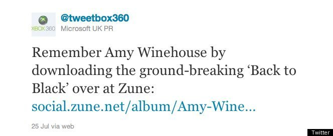 Amy Winehouse Microsoft Tweet