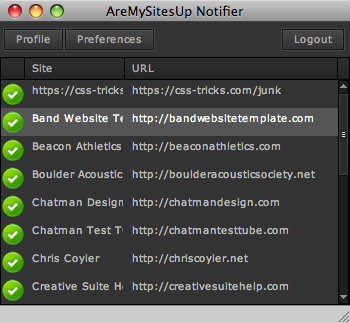 AreMySitesUp Notifier