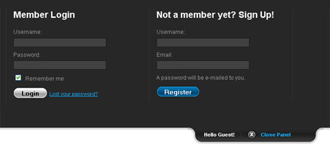 Panel desplegable de login con MooTools/jQuery