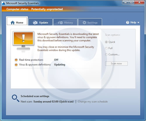 Microsoft Security Essentials Unprotected