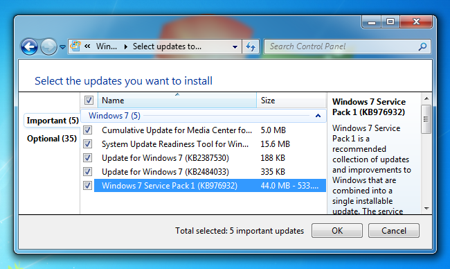 Seleccionar actualizacion SP1 Windows 7