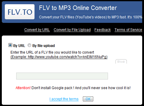FLVto, para convertir videos FLV de YouTube a MP3
